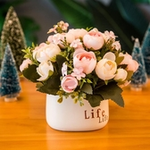 客廳仿真假花束玫瑰擺件餐桌茶幾裝飾塑料干花盆栽植物【快速出貨免運】