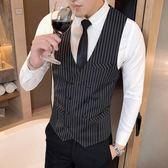 西裝馬甲秋季男裝西服雙排扣背心男士帥氣時尚豎條紋馬甲紳士商務職業裝潮 衣間迷你屋