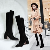 冬季高跟長筒靴子女不過膝中筒女靴磨砂尖頭顯瘦粗跟高筒靴騎士靴