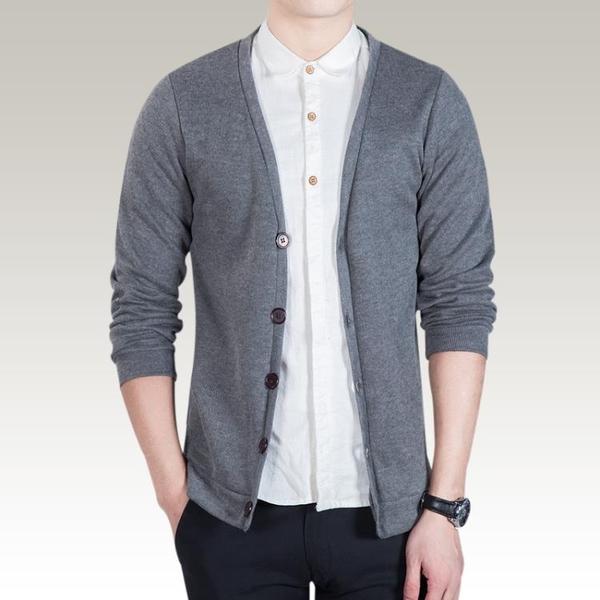 針織外套 新款男士薄外套上衣服修身V領毛衣針織衫開衫線衣潮流【快速出貨八折下殺】