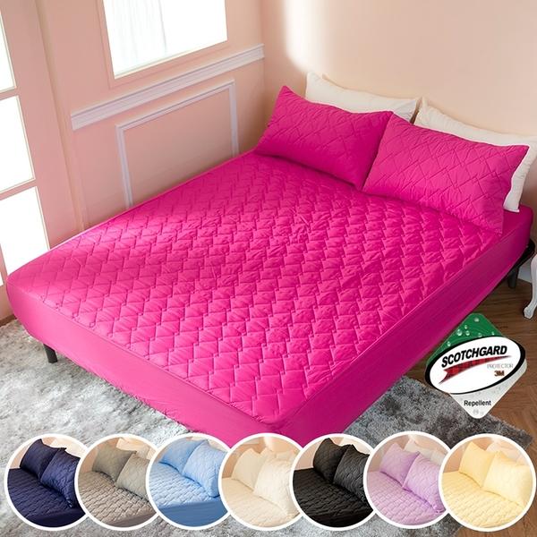 ∥特大床包∥透氣防潑水技術處理床包式保潔墊 MIT台灣精製《桃紅》
