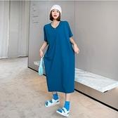 V領洋裝休閒長裙L-2XL寬鬆大碼中長款過膝連身裙短袖T卹裙NC417-254.胖胖美依