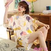 短袖睡衣睡衣女夏季薄款純棉短袖兩件套裝春秋天可愛學生全棉可外穿家居服 JUST M