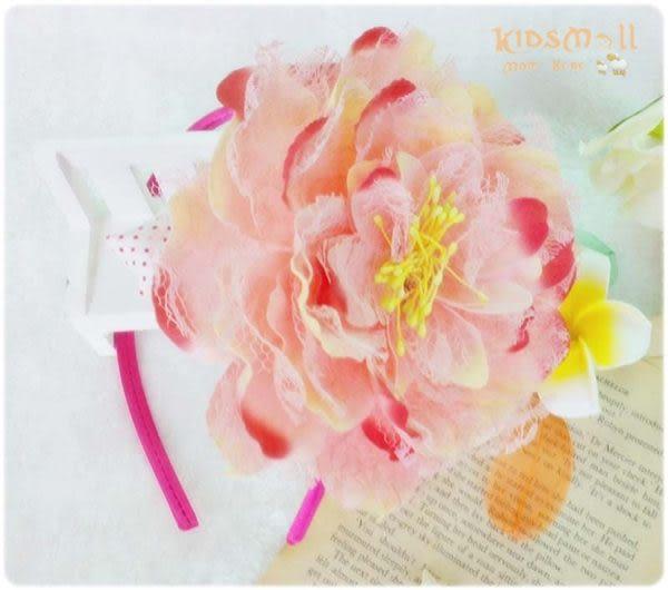 Cutie Bella蕾絲牡丹花髮箍-Sherbet Pink
