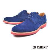 【CR CERINI】經典綁帶麂皮男仕休閒鞋  藍色(82346-NAS)