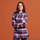 【GIORDANO】女裝純棉法蘭絨長版襯衫-32 紅/藍/奶油格子