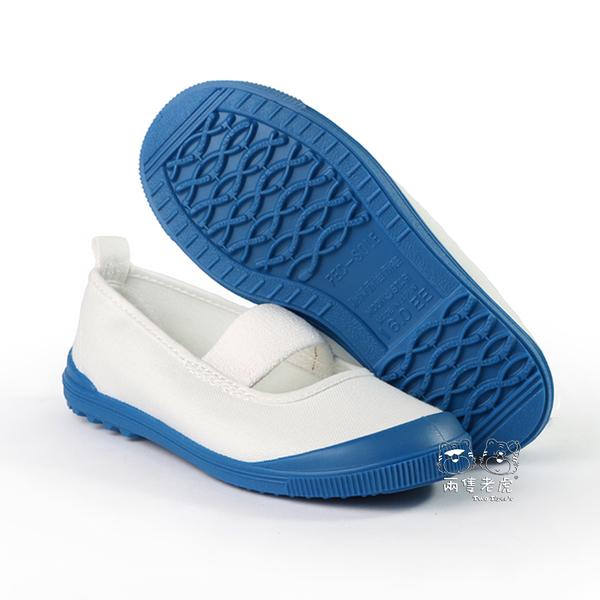 日本月星 MoonStar 白/藍色 帆布膠底 止滑兒童室內鞋 中童鞋 NO.Q6401