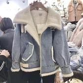 冬季新款韓版加厚牛仔棉服外套女大碼短款機車加絨羊羔毛棉衣女襖 降價兩天