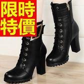 真皮短靴-時尚設計造型高跟女靴子2色62d26[巴黎精品]