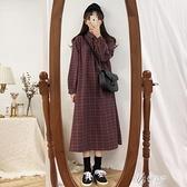 長袖洋裝 秋季2020年新款韓版寬鬆中長款長袖格子襯衫洋裝女小眾設計 【快速出貨】