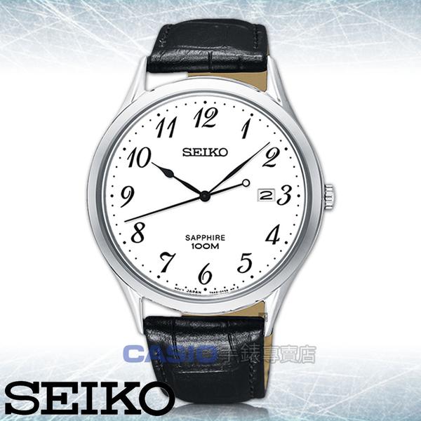 SEIKO 精工 手錶專賣店   SGEH75P1 石英男錶 皮革錶帶 白 藍寶石玻璃鏡面 防水100米 日期顯示