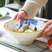 泡麵碗大號日式斗笠碗家用大湯碗創意斜口沙拉碗個性陶瓷餐具牛肉拉面碗 年終尾牙【快速出貨】