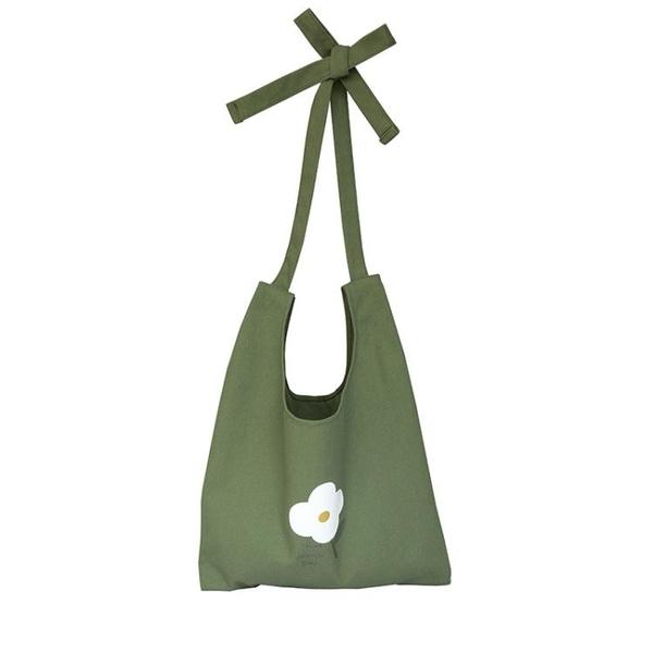 清新綠色帆布袋單肩大容量小花文藝女包包學院風 青山市集