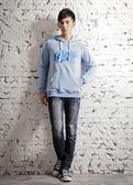 【BTIS】斑點法蘭絨男連帽T恤 淺藍色