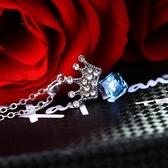 925純銀項鍊 水晶墜飾-鑲鑽皇冠生日情人節禮物女飾品5色73aj24【巴黎精品】