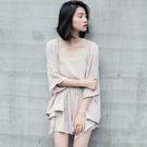 VK精品服飾 韓國風開衫外套時尚休閒薄款雪紡套裝長袖褲裝