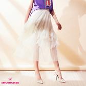 【SHOWCASE】唯美雙層細褶鬆緊腰百搭中長層次紗裙(杏)