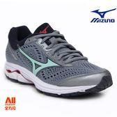 【Mizuno美津濃】女款馬拉松鞋 WAVE RIDER 22 寬楦- 灰色(J1GD183235)【全方位運動戶外館】