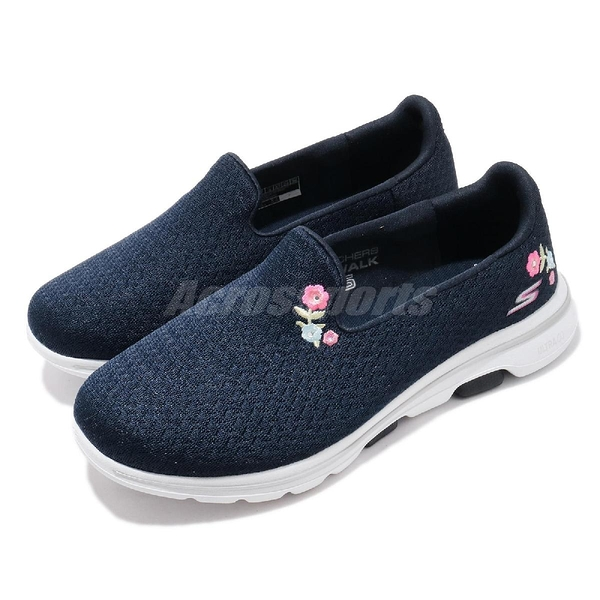 Skechers 休閒鞋 Go Walk 5-Garland Wide 藍 白 女鞋 寬楦頭 套入式 懶人鞋 【ACS】 124002WNVW