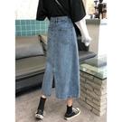 裙子牛仔半身裙子女秋冬新款氣質開叉中長款高腰a字顯瘦包臀長裙