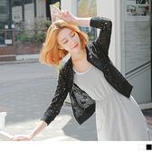 OB嚴選《EA1438-》鏤空蕾絲花樣羅紋拼接外套