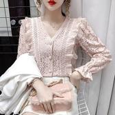 現貨寄出 荷葉邊鏤空蕾絲襯衫女長袖春秋新款氣質復古外穿百搭v領上衣