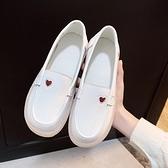 皮鞋 護士鞋女軟底春秋新款平底一腳蹬休閒豆豆鞋單鞋小皮鞋小白鞋  曼慕