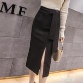 中式半身裙女春秋2020新款春季氣質開叉職業包裙中長款包臀一步裙『艾麗花園』