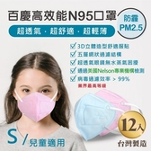 John m.百慶N95防霾PM2.5高效能口罩 兒童適用 (12入)