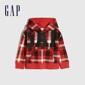 Gap男幼童 Logo活力格紋連帽休閒上衣 656227-紅色格紋