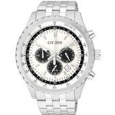 CITIZEN星辰 Chronograph 都會感三眼計時腕錶AN8060-57a白