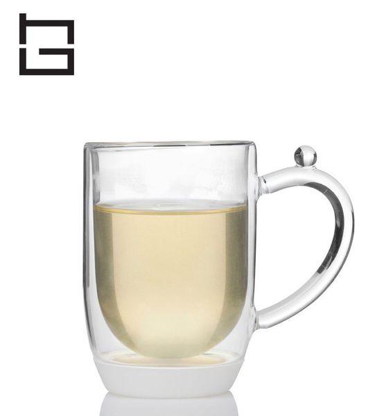 【HG】雙層玻璃馬克杯矽膠底(白)/300ml (現貨+預購)