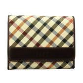 DAKS 經典斜格紋多功能壓釦短夾皮夾錢包(咖啡色)230122-02