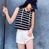 IN'SHOP夏日橫條短版連帽背心-共3色【KT221252】