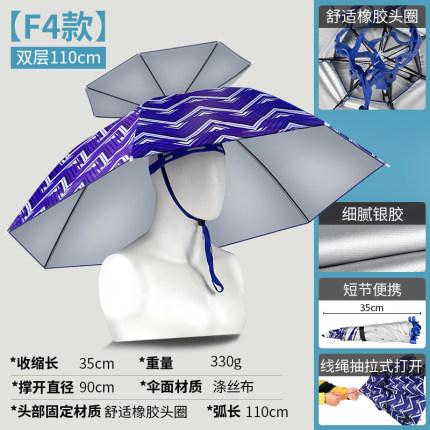 釣魚傘帽頭戴式雨傘帽防曬折疊頭頂傘雙層大號遮陽防雨帽傘CY『小淇嚴選』