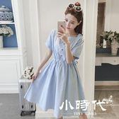 棉麻洋裝-裙夏學院風中長款小清新棉麻連身裙