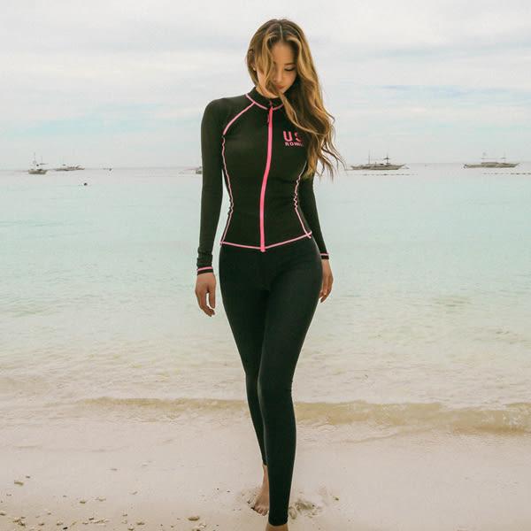 潛水衣   韓國分體拉鏈泳衣長袖長褲外套速干四件套防曬水母衣沖浪潛水服
