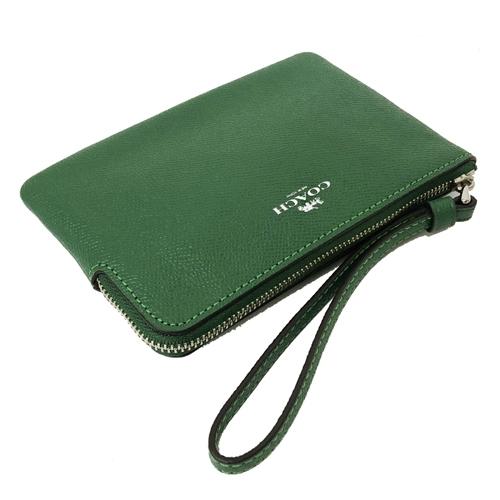 【COACH】經典LOGO防刮牛皮手拿包零錢包(葉綠)