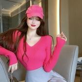 特價限購 打底衫女秋冬年新款時尚上衣修身顯瘦百搭v領長袖針織毛衣潮