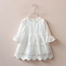 新品時尚可愛蕾絲喇叭袖連衣裙 洋裝