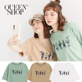 Queen Shop【01037776】有態度的人群們印花短T 三色售*現+預*