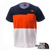 The North Face 男 SCafe短袖T恤-宇宙藍/木瓜橘 【GO WILD】
