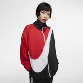 NIKE SPORTSWEAR 女裝 立領外套 尼龍 寬鬆 網眼 透氣 黑白紅 【運動世界】 BV3686-010