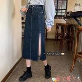 半身長裙 牛仔半身裙女2021春季新款韓版高腰設計感小眾開叉中長款A字裙子 愛丫 免運