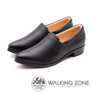 【南紡購物中心】WALKING ZONE 真皮素面尖頭舒適低跟鞋 女鞋 - 黑(另有棕)