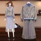 兩件式毛衣半身裙L-4XL胖mm時尚高領...