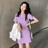 春夏很仙的裙子小清新圓領純色復古高腰寬鬆氣質短袖t恤洋裝女 小城驛站