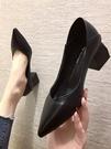 工作鞋女2021春季新款黑色職業上班尖頭高跟鞋粗跟軟皮鞋中跟單鞋 歐歐