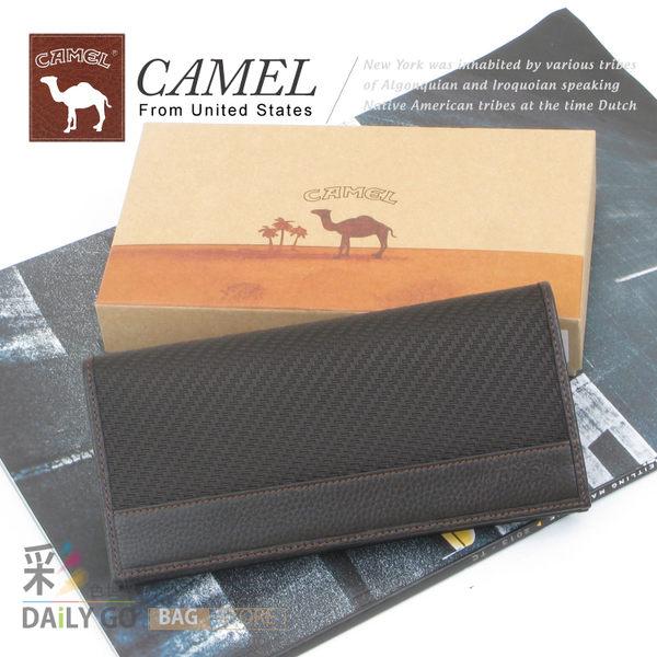 CAMEL卡梅爾駱駝真皮夾牛皮包長夾男夾-長皮夾11308-2咖啡