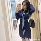 秋冬裝2020年新款女打底內搭修身包臀短裙撞色格子長袖針織洋裝 蘇菲小店